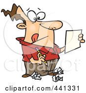 Royalty Free RF Clip Art Illustration Of A Cartoon Man Trying To Edit His Writing