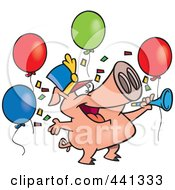 Royalty Free RF Clip Art Illustration Of A Cartoon Celebrating New Year Pig