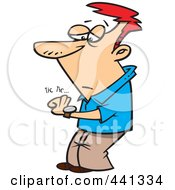 Royalty Free RF Clip Art Illustration Of A Cartoon Man Watching His Watch Tick