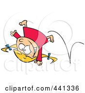 Royalty Free RF Clip Art Illustration Of A Cartoon Energetic Girl Doing A Cartwheel by Ron Leishman