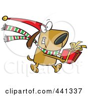 Royalty Free RF Clip Art Illustration Of A Cartoon Christmas Dog Carrying A Present