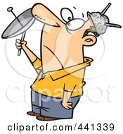 Royalty Free RF Clip Art Illustration Of A Cartoon Man Wearing Tin Foil Hat And Trying To Communicate With Aliens by Ron Leishman