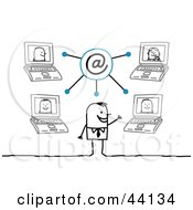 Clipart Illustration Of A Happy Stick Businessman Communicating With Colleagues On Networked Laptops