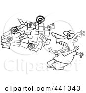 Royalty Free RF Clip Art Illustration Of A Cartoon Black And White Outline Design Of Spam Mail Shooting Towards A Man