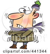 Royalty Free RF Clip Art Illustration Of A Cartoon Cold Man Shivering