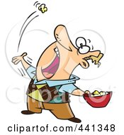 Royalty Free RF Clip Art Illustration Of A Cartoon Man Skillfully Tossing Popcorn Into His Mouth
