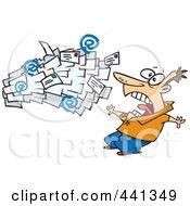 Royalty Free RF Clip Art Illustration Of Cartoon Spam Mail Shooting Towards A Man
