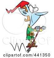 Royalty Free RF Clip Art Illustration Of A Cartoon Christmas Elf Hopping On A Pogo Stick by toonaday