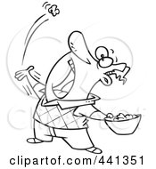 Royalty Free RF Clip Art Illustration Of A Cartoon Black And White Outline Design Of A Man Skillfully Tossing Popcorn Into His Mouth