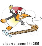 Royalty Free RF Clip Art Illustration Of A Cartoon Sledding Penguin by toonaday