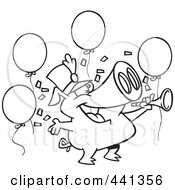 Royalty Free RF Clip Art Illustration Of A Cartoon Black And White Outline Design Of A Celebrating New Year Pig
