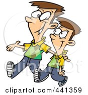 Royalty Free RF Clip Art Illustration Of A Cartoon Big Brother Walking With His Little Brother