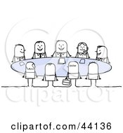 Happy Group Of Business Stick People Sitting Around A Table In A Meeting