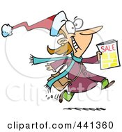 Cartoon Excited Black Friday Shopper Running With A Sale Ad