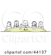 Clipart Illustration Of A Group Of Corporate Stick People Holding A Conference