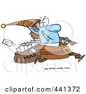 Royalty Free RF Clip Art Illustration Of A Cartoon Christmas Elf Delivering Santa Mail
