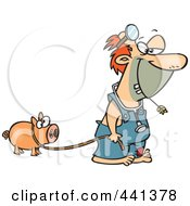 Royalty Free RF Clip Art Illustration Of A Cartoon Hillbilly Doctor With A Pet Pig