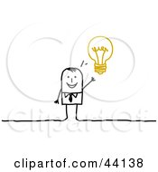 Clipart Illustration Of A Smart Stick Businessman With An Idea Displayed As A Light Bulb