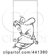Royalty Free RF Clip Art Illustration Of A Cartoon Black And White Outline Design Of A Shocked Man Being Abducted by toonaday