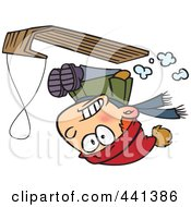 Royalty Free RF Clip Art Illustration Of A Cartoon Boy Going Upside Down On His Sled