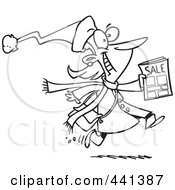 Royalty Free RF Clip Art Illustration Of A Cartoon Black And White Outline Design Of An Excited Black Friday Shopper Running With A Sale Ad
