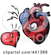 Royalty Free RF Clip Art Illustration Of A Heart Facing A Real Heart by Zooco