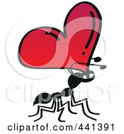 Royalty Free RF Clip Art Illustration Of A Romantic Ant Carrying A Heart by Zooco