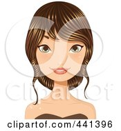 Royalty Free RF Clip Art Illustration Of A Young Woman With Her Long Brunette Hair Up