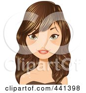 Royalty Free RF Clip Art Illustration Of A Young Woman With Long Wavy Brunette Hair by Melisende Vector