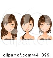 Royalty Free RF Clip Art Illustration Of A Digital Collage Of A Young Woman With Long Brunette Hair
