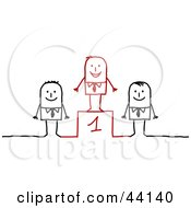 Clipart Illustration Of A Successful Stick Businessman Standing On An Upper Platform Over Two Contestants by NL shop #COLLC44140-0109