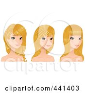 Royalty Free RF Clip Art Illustration Of A Digital Collage Of A Beautiful Young Woman With Long Blond Hair Styles