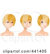 Royalty Free RF Clip Art Illustration Of A Digital Collage Of A Beautiful Young Woman With Short Blond Hair Styles