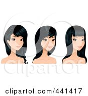 Royalty Free RF Clip Art Illustration Of A Digital Collage Of A Young Woman With Long Black Hair Styles