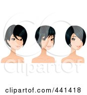 Royalty Free RF Clip Art Illustration Of A Digital Collage Of A Young Woman With Sgirt Black Hair Styles