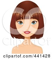 Royalty Free RF Clip Art Illustration Of A Pretty Young Woman With Short Highlighted Red Hair 2