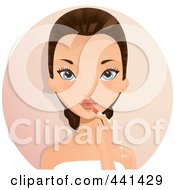 Royalty Free RF Clip Art Illustration Of A Brunette Woman Applying Lipstick Over A Beige Circle