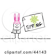 Clipart Illustration Of A Stick Man Wearing Pink Bunny Ears And Holding A Spring Sign by NL shop