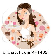 Pretty Woman Carrying A Plate Of Food Over A Dotted Oval
