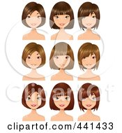 Royalty Free RF Clip Art Illustration Of A Digital Collage Of Brunette And Red Haired Women With Highlights