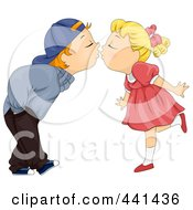 Royalty Free RF Clip Art Illustration Of A Kid Couple Bending Over To Kiss