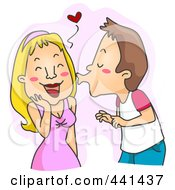 Royalty Free RF Clip Art Illustration Of A Man Kissing A Blushing Woman Over Pink by BNP Design Studio