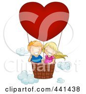 Royalty Free RF Clip Art Illustration Of A Boy And Girl In A Valentine Hot Air Balloon by BNP Design Studio