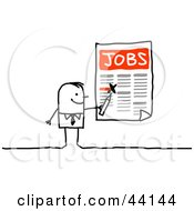 Clipart Illustration Of A Stick Businessman Highlighting Job Openings On A Poster by NL shop