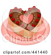 Royalty Free RF Clip Art Illustration Of A Heart Cake On A Plate