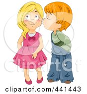Royalty Free RF Clip Art Illustration Of A Boy Kissing A Girl On The Cheek