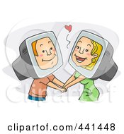 Royalty Free RF Clip Art Illustration Of An Internet Romance Couple Holding Hands Over Gray