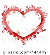 Royalty Free RF Clip Art Illustration Of A Red Floral Heart Frame