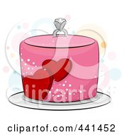 Royalty Free RF Clip Art Illustration Of A Pink Engagement Cake With Hearts And A Diamond Ring