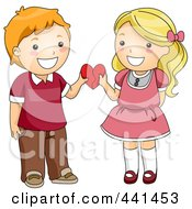 Royalty Free RF Clip Art Illustration Of A Child Couple Holding A Heart Together